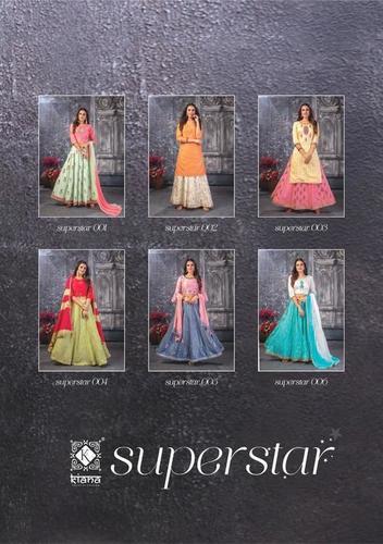 SUPERSTAR chanderi silk / lurex silk / cotton and naznin Skirt plazzo / crop top / skirt and dupatta with  handwork