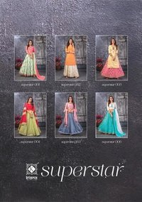 SUPERSTAR chanderi silk / lurex silk / cotton and naznin Skirt plazzo / crop top / skirt and dupatta with  handwork