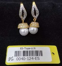 american diamond earring with gold plating with stone