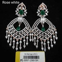 american diamond earring with gold plating