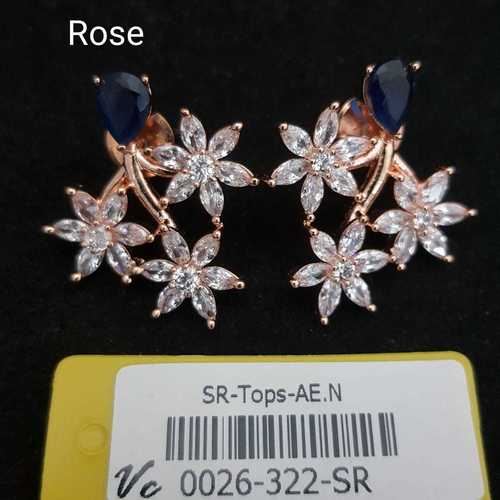 american diamond earring with rose plating