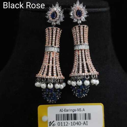 Black Rose American Diamond Earrings