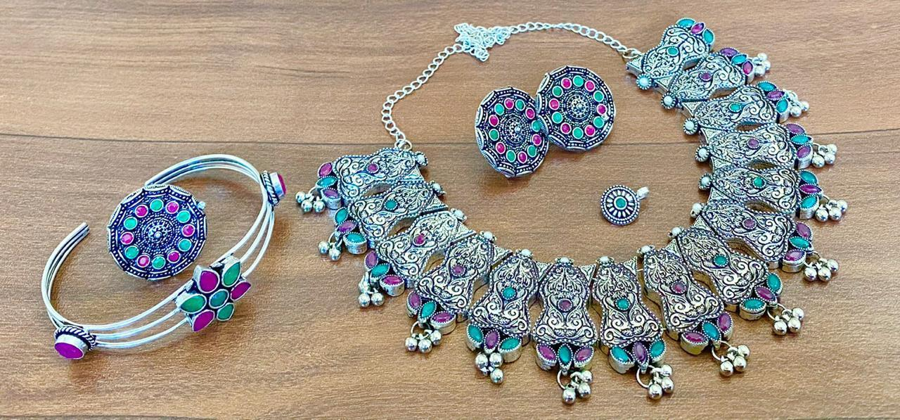 German Silver Necklace With Jhumka Earrings
