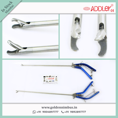 Addler Laparoscopic Needle Holder ,Driver Curved Jaw Forceps Storz Type Handle 5mm Instruments
