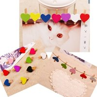 50 Pcs Heart Design Wooden Picture Holder Clips