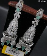 American Diamond Earrings with Rhodium Plating