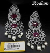American Diamond Earrings Rhodium Plating and Stone