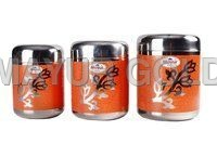 Stainless Steel Floral Printed Canister Set