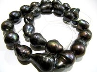 Natural Black Pearl Baroque Shape Beads Genuine Nugget Shape Size 15 to 20mm approx Length 15-16