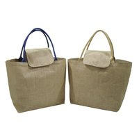 PP Laminated Jute Tote Bag With Genuine Leather Rope Handle
