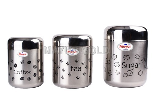 Stainless Steel Printed Canister Set