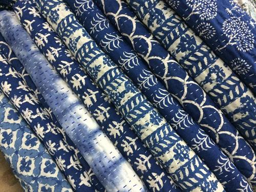 Indigo Kantha Bed Cover