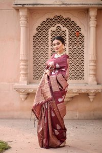 Exclusive Handpicked Lichi Silk Classic Brown Colour Saree