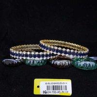 American Diamond Bangles with Blue Stone