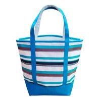 Natural Canvas Multicolor Striped Print Tote Bag