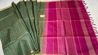 Pure Tussar Silk Full Weaved Saree , Some With Contrast Pallu and Blouse Some With Running Plain Blouse .