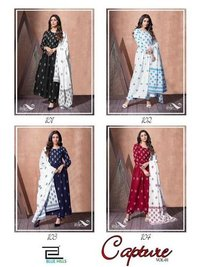 Capture Heavy Rayon Top and Bottom Mul Mul Cotton Dupatta