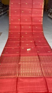 Pure Tussar Silk Handloom All Over Boota Woven , Baster Figure Woven Pallu , Running Blouse .