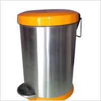 SS Plain Pedal Bin With Orange Dome Lid
