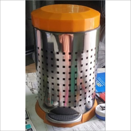 SS Perforated Pedal Bin With Orange Dome Lid