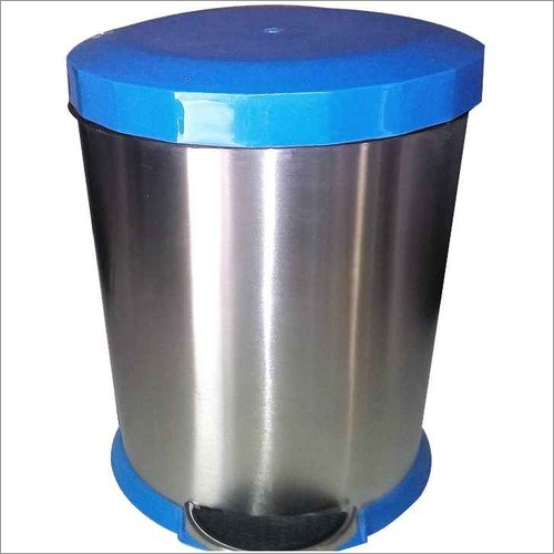 SS Perforated Pedal Bin With Blue Plastic Lid