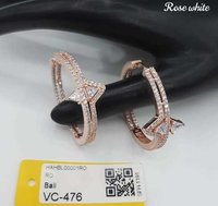 Rose Plated Americal Diamond Earring with Stone
