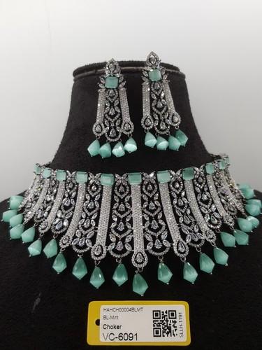 American Diamond Necklace Set with Stone