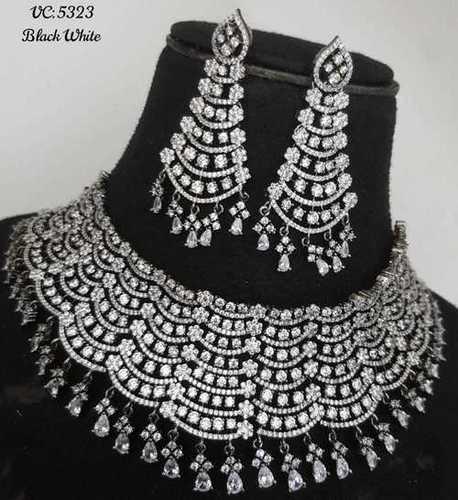 American Diamond Necklace Set Rhodium Plating