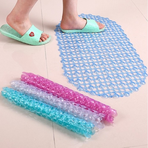 Silicone PVC Rubber Suction Shower Mat (Random Color)