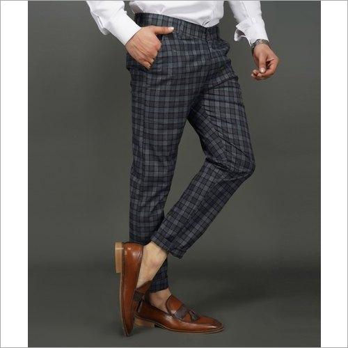 Men Black Check Trousers