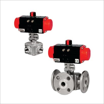 Stainless Steel 3 And 4 Way Ball Valve With Pneumatic Rotary Actuator