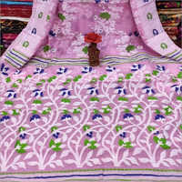 Ladies Pink Minakari Soft Jamdani Saree