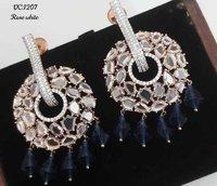 Fancy Rose White Ad Earrings