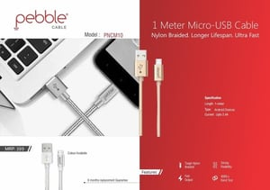 Pebble Micro USB  Braided Cable