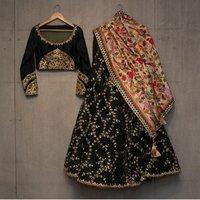 Matsya Black Well Bridal Lehenga Choli