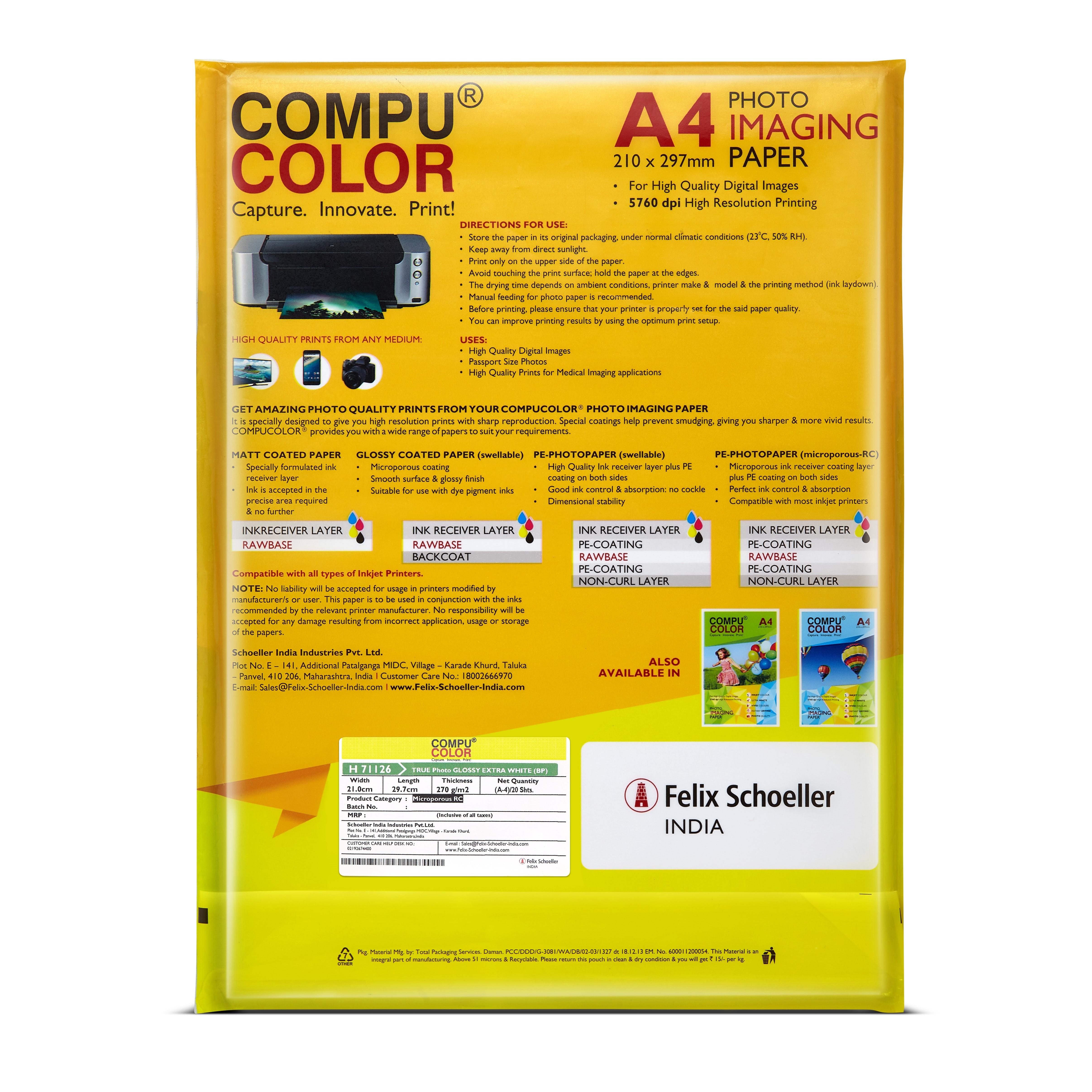COMPU COLOR Glossy Photo Imaging Paper Sheet
