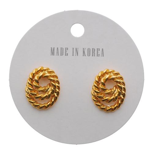 Goldtone rope twist vintage earring