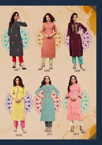 Fashion Saga Vol 1 Muslin With Khatli Work Kurti With Pent