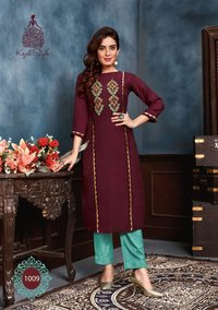 Fashion Saga Vol 1 Muslin With Khatli Work Kurti With Pent