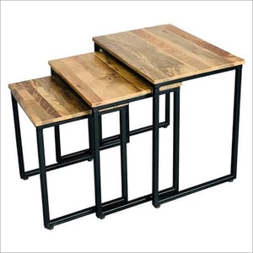 Wood Top And Metal Legs Coffee Table Set