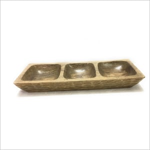 Wooden 3 Compartment Tray
