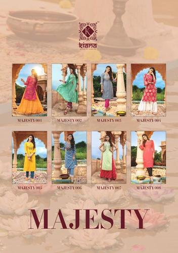 MAJESTY Rayon , Cotton Flex, Cotton Jacquard Wid Thread Work