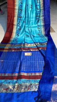 Pure Dupion Raw Silk Handloom Block Printed Saree