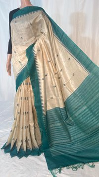 Tussar Silk Handloom Temple Border Saree With Jala Pallu