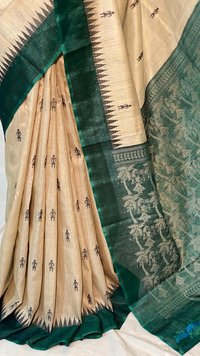 Pure Tussar Silk Handloom Baster Figure Woven Saree With Temple Border