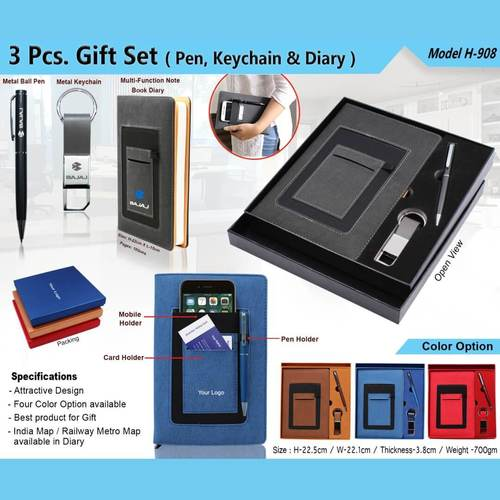 3 in 1 Gift Set - Pen, Keychain and Diary 908