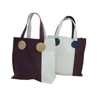 20 Oz Dyed / Natural Canvas Tote Bag With Cotton Web Handle