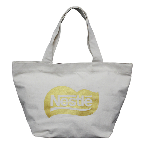 Natural Canvas Tote Bag With Open Hanging Pocket