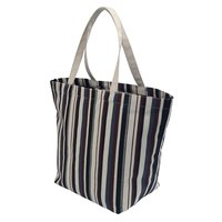 Natural Canvas Tote Bag With Striped Print & Inside Open Hanging Pocket
