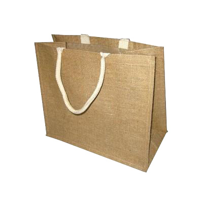 PP Laminated Jute Fabric Shopping Bag With Soft Rope Handle